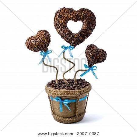 Photo of brown flowerpot with cofee heart isolated on white background