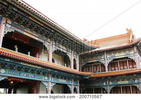 Traditional Chinese style temple at Wat Leng-Noei-Yi in NonthaburiThailand.