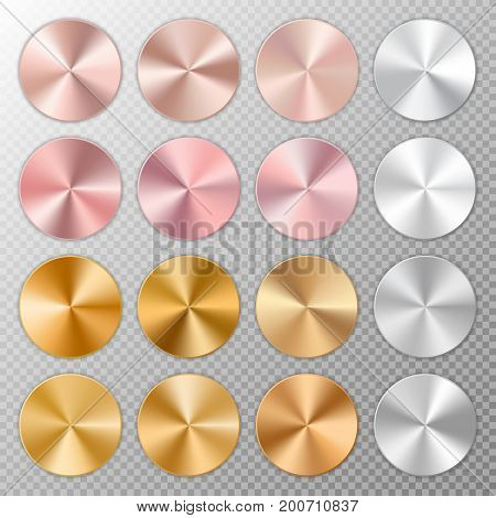 Metallic shiny round discs with conical metal gradients on a translucent background