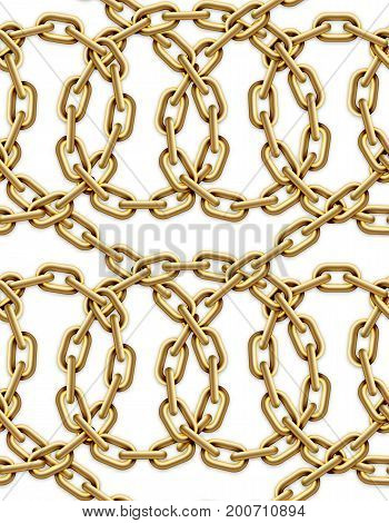 Vector seamless pattern of intertwined golden chains. Realistic illustration isolated over white background.