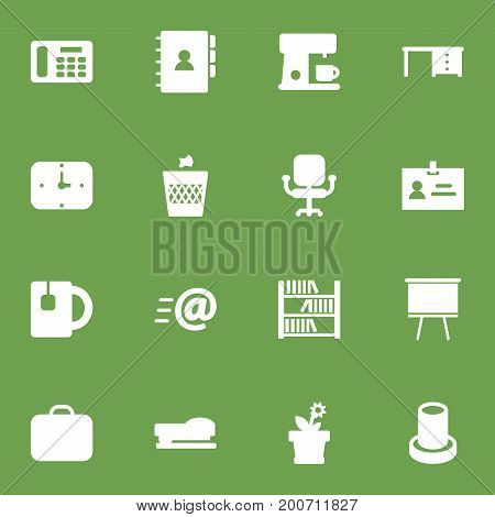 Collection Of Book, Phone, Desktop And Other Elements.  Set Of 16 Workspace Icons Set.