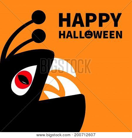 Monster reptile head silhouette with red devil eye fang tooth. Cute cartoon character. Black color. Baby collection. Happy Halloween card. Pumpkin face smile. Flat design. Orange background Vector