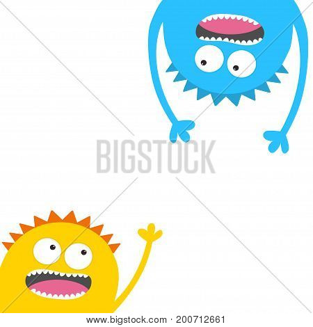 Screaming monster head silhouette set. Two eyes teeth tongue hands. Hanging upside down. Funny Cute cartoon character. Happy Halloween card. Baby collection. Flat design. White background. Vector