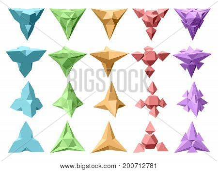 Set of vector complex geometric shapes based on tetrahedron. Five types of shapes. Four types of perspective views