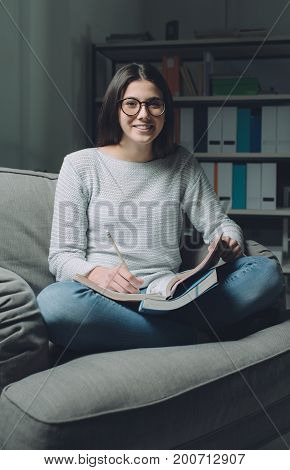 Confident Student Studying Late