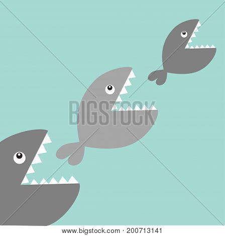 Fishes eating each other. Food chain. Cute cartoon gray fish character set. Baby kids collection. Blue water background. Isolated. Flat design. Vector illustration