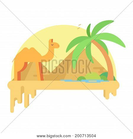 A Camel Stands Near An Oasis In The Background Of The Pyramids Of A Giza. Flat Vector Illustration
