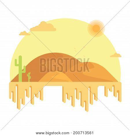 Cacti Grow Among The Dunes. Hot Desert Under The Bright Sun. Flat Design Illustration