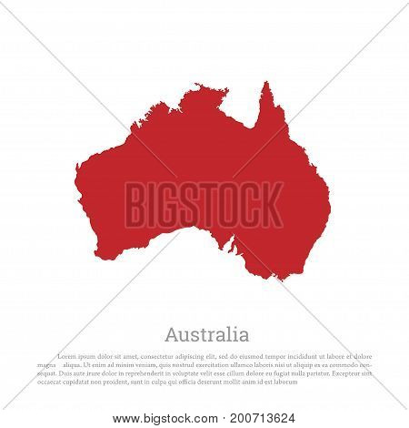 Red silhouette of continent Australia on a white background. Detailed map. Vector illustration