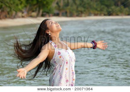 Woman Breathing At Sea