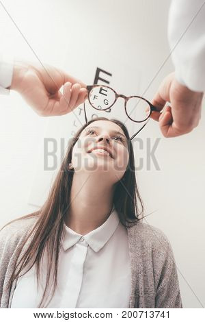 Happy Woman Trying Her New Glasses