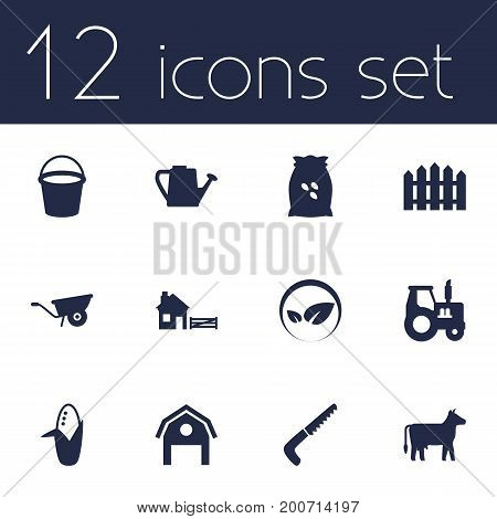 Collection Of Wooden Barrier, Pushcart, Pail And Other Elements.  Set Of 12 Agricultural Icons Set.