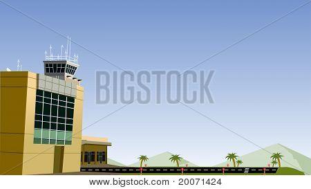 Airport And Plane Run Way