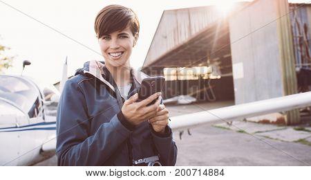 Smiling Woman At The Aerodrome