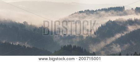 Mountain Landscape Shortly After Rain. Clouds Of Fog
