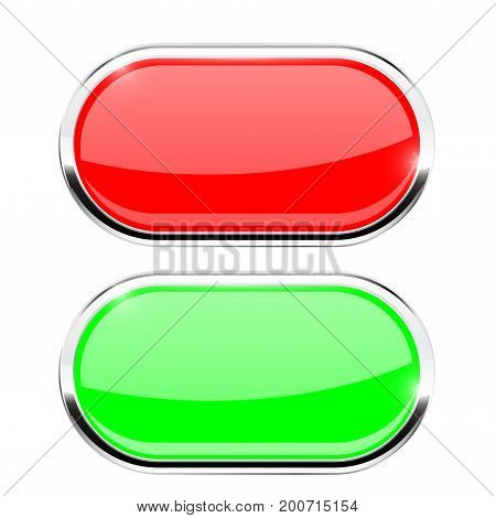 Oval buttons. Red and green with chrome frame. Vector illustration isolated on white background