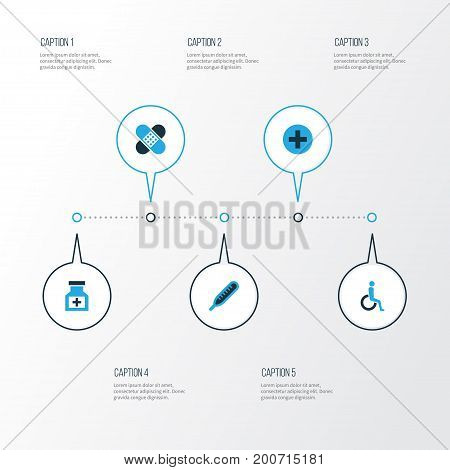 Antibiotic Colorful Icons Set. Collection Of Cure, Adhesive Plaster, Disabled And Other Elements