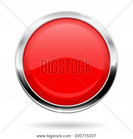 Red round button. Web icon with chrome frame. Vector illustration isolated on white background