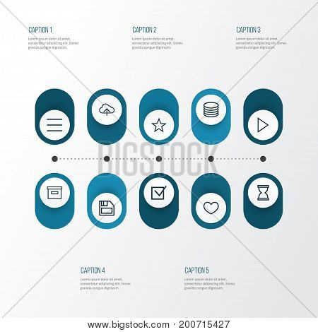 Interface Outline Icons Set. Collection Of List, Arrow, Database And Other Elements