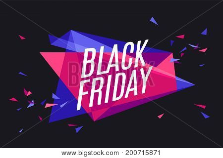 Banner with text Black Friday for emotion, blame and curiosity. Design element for sale theme, shop, market. Poster for sale and discount on color and black background. Vector Illustration