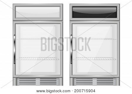 Display refrigerator. Small size merchandiser. Vector illustration isolated on white background