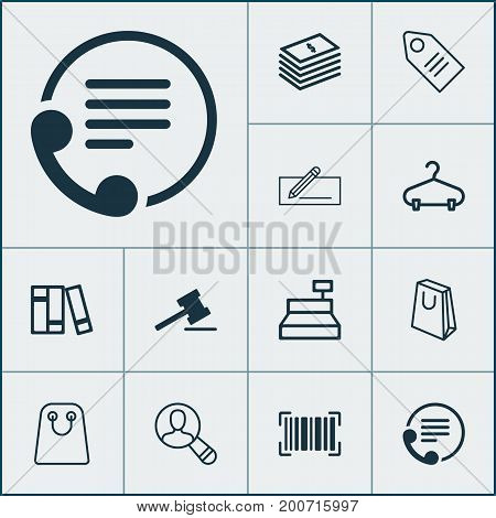 Ecommerce Icons Set. Collection Of Till, Handbag, Identification Code Elements