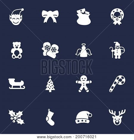 Collection Of Gnome, Bear, Decoration And Other Elements.  Set Of 16 New Icons Set.