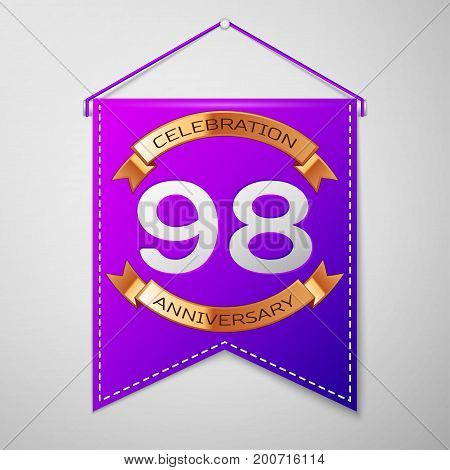 Realistic Purple pennant with inscription Ninety eight Years Anniversary Celebration Design on grey background. Golden ribbon. Colorful template elements for your birthday party. Vector illustration