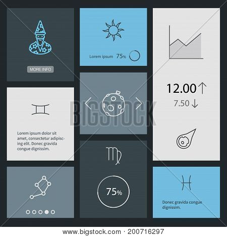 Collection Of Sun, Pisces, Constellation And Other Elements.  Set Of 8 Horoscope Outline Icons Set.