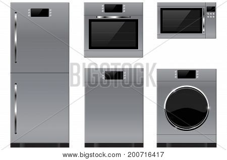 Household appliances. Refrigerator, oven, microwave, washing machine, dishwasher. Vector illustration isolated on white background