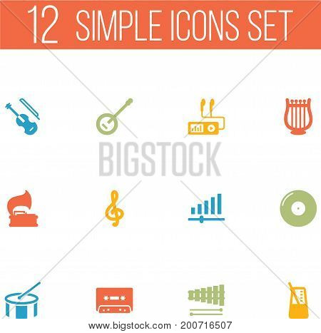 Collection Of Fiddle, Retro Disc, Lyre And Other Elements.  Set Of 12 Melody Icons Set.