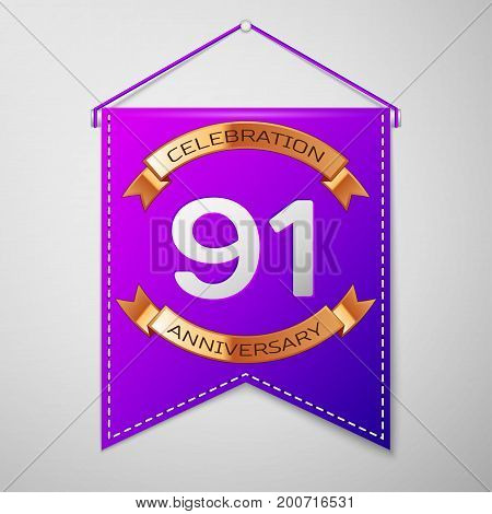 Realistic Purple pennant with inscription Ninety one Years Anniversary Celebration Design on grey background. Golden ribbon. Colorful template elements for your birthday party. Vector illustration