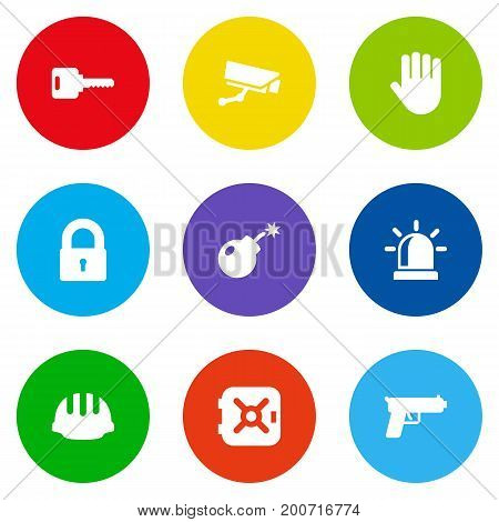 Collection Of Dynamite, Alarm, Strongbox And Other Elements.  Set Of 9 Safety Icons Set.