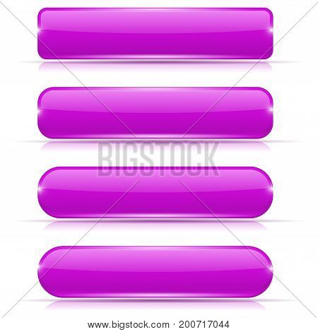 Purple glass buttons. Set of long rectangular web interface icons. Vector illustration isolated on white background