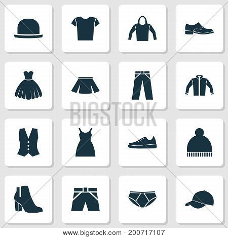 Clothes Icons Set. Collection Of Panama, Sneakers, Sarafan And Other Elements