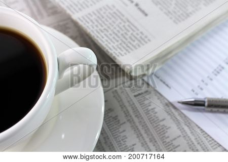 An image of financial and coffee - newspaper