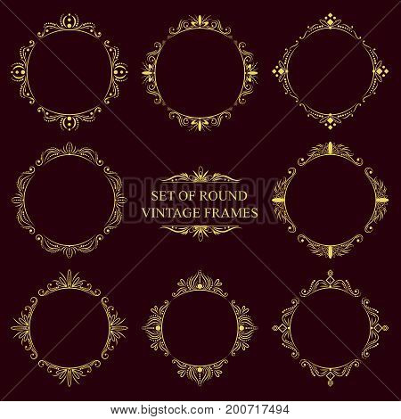 Set of eight round classic elegant gold vintage outline frames on a dark background