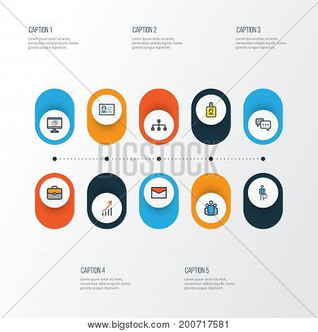 Job Colorful Outline Icons Set. Collection Of Network, Message, Portfolio And Other Elements