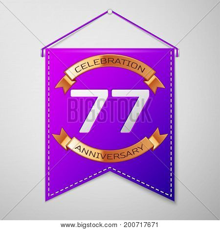 Realistic Purple pennant with inscription Seventy seven Years Anniversary Celebration Design on grey background. Golden ribbon. Colorful template elements for your birthday party. Vector illustration