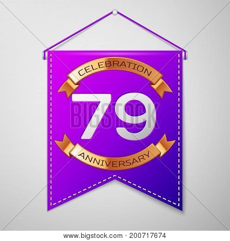 Realistic Purple pennant with inscription Seventy nine Years Anniversary Celebration Design on grey background. Golden ribbon. Colorful template elements for your birthday party. Vector illustration