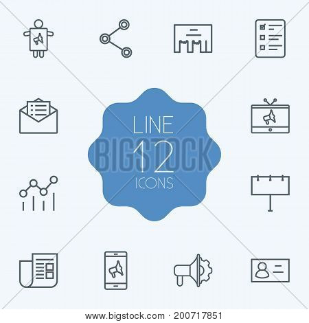 Collection Of Worker, Advertising Agency, Tv And Other Elements.  Set Of 12 Advertising Outline Icons Set.