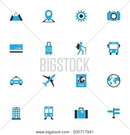 Traveling Colorful Icons Set. Collection Of Hotel, Signpost, Bank Card And Other Elements