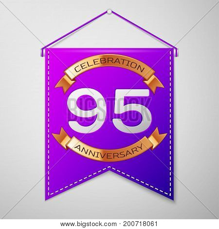 Realistic Purple pennant with inscription Ninety five Years Anniversary Celebration Design on grey background. Golden ribbon. Colorful template elements for your birthday party. Vector illustration