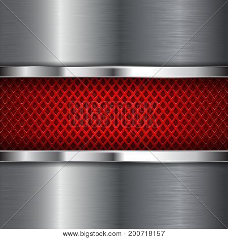 Red perforated background with shiny stainless steel plate. Diamond shape holes. Vector 3d illustration