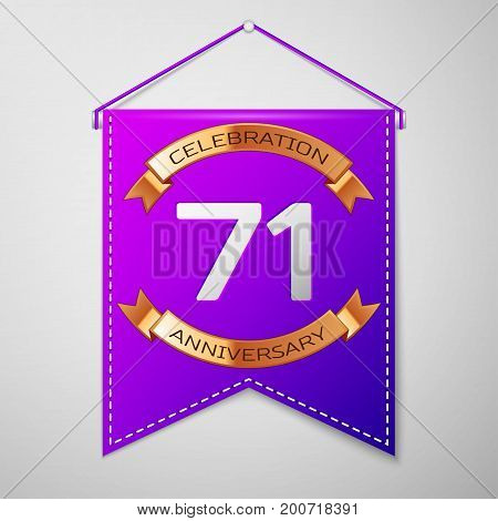 Realistic Purple pennant with inscription Seventy one Years Anniversary Celebration Design on grey background. Golden ribbon. Colorful template elements for your birthday party. Vector illustration