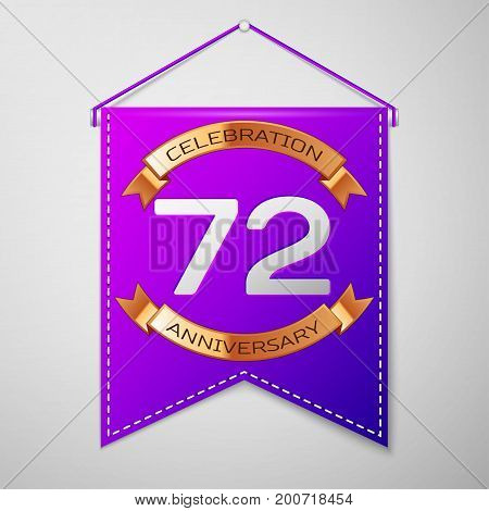 Realistic Purple pennant with inscription Seventy two Years Anniversary Celebration Design on grey background. Golden ribbon. Colorful template elements for your birthday party. Vector illustration