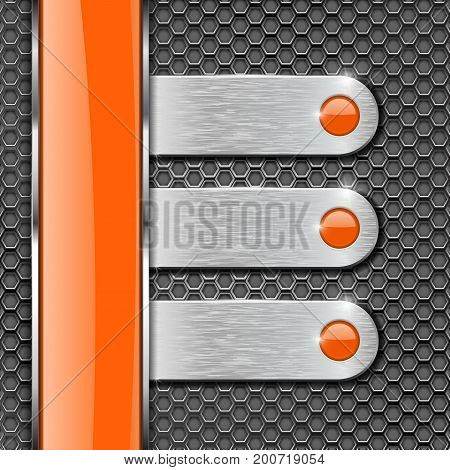 Orange glass stripe and metal plates on perforated background. Menu buttons with orange circles. Vector 3d illustration