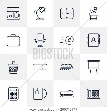Collection Of Coffee Maker, Book, Email And Other Elements.  Set Of 16 Bureau Outline Icons Set.