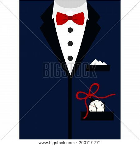 Suit with bow tie on postcard. Postcard tuxedo. Postcard for men. Father's Day. Also suitable for invitation card business card. Vector illustration.