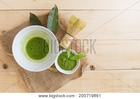 Set Of Matcha Powder Bowl, Wooden Spoon And Whisk, Green Tea Leaf, Organic Green Matcha Tea Ceremony